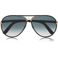 Gucci Aviator-style leather-trimmed gold-tone sunglasses, Women's ($585) ❤ liked on Polyvore featuring accessories, eyewear, sunglasses, aviator glasses, gucci aviators, aviator eyewear, aviator sunglasses e aviator style sunglasses