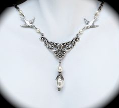 Wedding Necklace Pearl and Sparrows Antiqued Silver