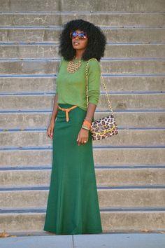 Light Green Sweater, Dk. Green Maxi Skirt, Cognac Belt, Leopard Print Cross Body Handbag, Gold Necklace