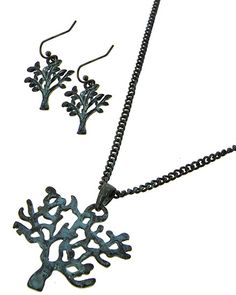 Patina / Lead&nickel Compliant / Metal / Fish Hook (earrings) / Tree Pendant / Necklace & Earring Set