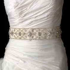 "Stunning Swarovski Crystal, rhinestone and bugle beaded royal bridal belt sash.  Size: Design extends 33 1/2"" long by 2 1/3"" Wide on a 95"" ribbon."