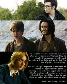 "cleansweepfive: "" Ben Barnes as Sirius Black Andrew Garfield as Remus Lupin Aaron Johnson as James Potter & James Phelps as Fred Weasley from my Marauders Era Dreamcast dedicated to Emma, my Caradoc, the Bom to my Bur - for enabling me. "" The plains..."