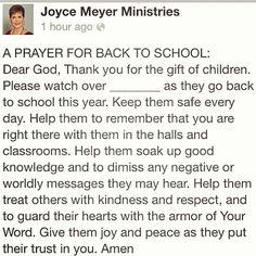 Back To School Prayer. ALWAYS cover your children in Prayer!!