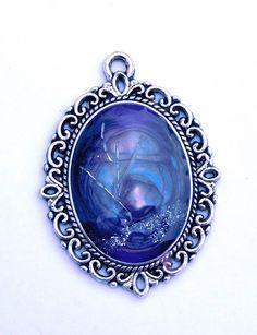 """Originelles Amulett """"Purple Night"""", Metallspäne Bergkristall, Silber Lila Türkis, Mixed Media, Anhänger, Schmuckanhänger, Kettenanhänger, von metallmorphose auf Etsy"""