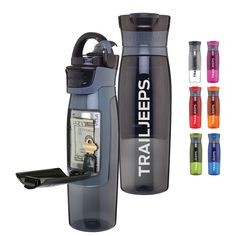Trail Jeeps 24oz. water bottle with hidden storage.  Order it online! http://shop.trailjeeps.com/