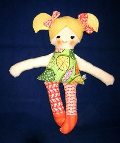 Fabric cloth doll art doll handmade doll Lulu by CecilleWorld on Etsy Art Dolls, Doll Clothes, Little Girls, Super Cute, Felt, Sewing, Fabric, Handmade, Etsy