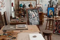Joan Miro studio. http://yasoypintor.com/2012/03/30/modern-abstract-art-and-artists-studios-ii/