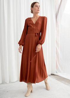 Wrap Midi Dress - Rust - Midi dresses - & Other Stories Fall Dresses, Summer Dresses, Formal Dresses, Midi Dresses, Wrap Dresses, Flower Dresses, Elegant Dresses, Burnt Orange Bridesmaid Dresses, Boho Beautiful