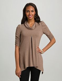Ruched Cowl Neck Top