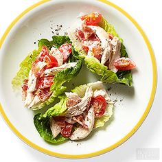 Chicken BLT Cups- For a 10-minute appetizer or light lunch, toss together cooked bacon, chicken, ranch dressing and tomatoes, then stuff inside lettuce wraps.