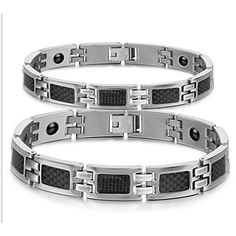 Non mainstream titanium steel jewelry 304 steel couple hand chain with healthy magnetism-Gender Women Couple Bracelets, Bracelets For Men, Fashion Bracelets, Bangle Bracelets, Fashion Jewelry, Bangles, Men's Jewelry, Link Bracelets, Titanium Jewelry