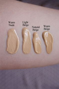 Too Faced Born This Way Foundation in Warm Nude, Light Beige, Natural Beige and Warm Beige.