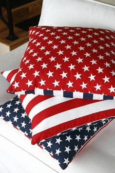 American flag pillow - love the red/white stripes on one side and stars on a field of blue on the other.
