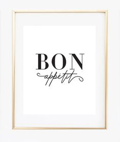 Bon Appetit print, modern and minimalist black and white. This French Bon Appétit kitchen decor make a chic statement. ★ PRODUCT SKU # DBM296 ★ ♥ Prints do not come framed, framed images are just for