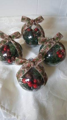 Pine Cone Winter Christmas Ornament Set