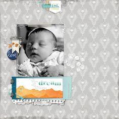"Digital baby layout using Glitz's ""77"" collection!"