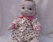 """Fretta's OOAK Textile Baby Girl 18"""" / 46 cm. Bald / Green Eyes. Soft Sculptured Jointed Baby, Child Safe Cloth Doll"""