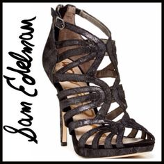 "Sam Edelman Caged Heel - Open toe - Caged construction - Buckle strap detail - Back zip closure  - Approx. 5"" heel, 0.5"" platform - Leather upper, manmade sole Sam Edelman Shoes Heels"