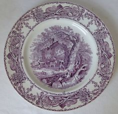 Purple Transferware  Serving Vegetable Bowl Mother Children Dog Woodcutter Rural Scenes