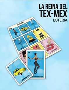 La Reina Del Tex Mex Inspired Loteria. Folk Art Bingo game. 6 different game boards and 24 playing cards. table/tabla 6 length x 5.5 width cards 3.5 length x 2.5 width