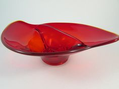 Vintage Viking Epic Line Red Glass Divided Two Part Candy or Relish Dish $17.00