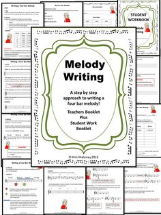 MELODY WRITING Step by Step.   A NINE page Teachers Resource and a TEN page Student Workbook      $