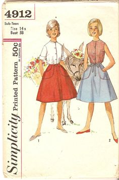 Pre-teen Wrap Around Skirt & Blouse Pattern - Simplicity 1912 - Size Bust 33 via Etsy Modern Sewing Patterns, Sewing Patterns Girls, Skirt Patterns Sewing, Simplicity Patterns, Blouse Patterns, Vintage Patterns, Clothing Patterns, Skirt Sewing, Wrap Around Skirt
