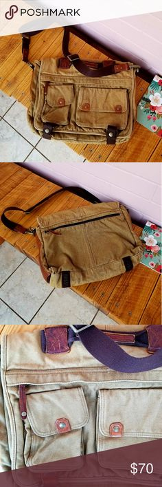 "FOSSIL MESSENGER BAG About: •brand: Fossil  •size: large •color: tan & brown •fold over and button closure •adjustable strap •carry handle •2 front magnetic pockets  •1 front zipper pocket •1 back zipper pocket •fabric material •1 interior zipper laptop section •2 interior accessory pockets •2 accessory pockets under flap •euc with plenty of life left  •comes from a smoke-FREE & pet-FREE home  Measurement: •length: 17"" •height: 12.5"" •depth: 2.75"" Fossil Bags"