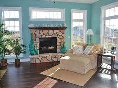 Sunroom Paint Color Ideas for Highly Reflective Nuance with fireplace