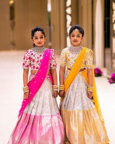 Viranica and Vishnu Daughters in Silver Half Sarees Kids Party Wear Dresses, Kids Dress Wear, Kids Gown, Designer Party Wear Dresses, Dresses Kids Girl, Girls Dresses Sewing, Baby Dresses, Designer Wear, Lehenga Designs