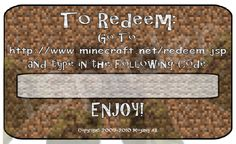Hurry up and grab you'r Minecraft gift code using our special software MineCraft Gift Code Generator