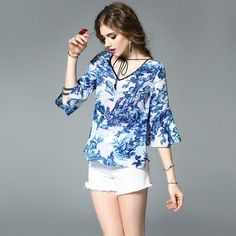 >> Click to Buy << 100%Silk Blouses New Women's Fashion V-Neck Vintage Porcelain Print Flare Sleeve Casual Loose Silk Blouse Shirt Female Blusas #Affiliate