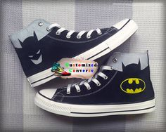 Batman Custom Converse Painted Shoes Batman Superman Shoes , batman converse, custom converse shoes, customized converse for adult, birthday gift, valantines gift , anime shoes zapatas