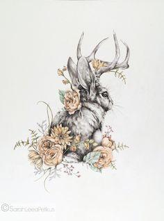 Jackalope 8 x 10 Waldland Kaninchen Kunstdruck von NestandBurrow Jackalope Woodland Rabbit Art Print by NestandBurrow Tattoo Drawings, Art Drawings, Lapin Art, Rabbit Tattoos, White Rabbit Tattoo, Bunny Tattoos, Flower Tattoos, Arte Sketchbook, Drawn Art