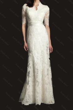 White-Ivory-Lace-Wedding-Dress-Bridal-Gown-Custom-Size-2-4-6-8-10-12-14-16-18-20