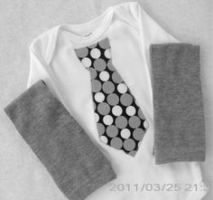 Tie Onesie  and Leg Warmers / Black with Gray and White by vpettet, $16.50