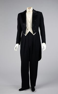 """White tie"" formal evening suit (tuxedo), by E. Larue for Jeanne Lanvin (manufactured by Cluett, Peabody & Company, Inc.), French, c. 1927. This fine example of a complete men's evening wear ensemble is exemplary of the tailor's art with a superior cut which holds its shape readily. The men's wear department of the house of Lanvin was opened in 1926 and run by Jeanne Lanvin's nephew, Maurice Lanvin."
