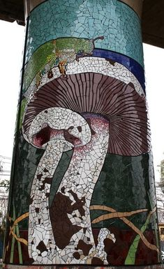 Incredible mosaic project at a train station in Chile - the pillars are all being covered in mosaics