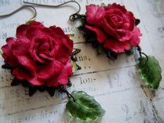 Romantic Red Rose Earrings by faerymoongoddess on Etsy, $16.00