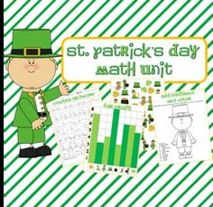 St. Patrick's Day Mini Unit- includes color and black line masters- find, tally and graph, story problems, Roll and Color, Analyzing Data, and more.