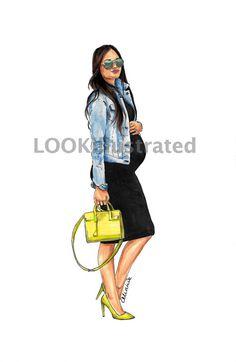 "Pregnancy custom fashion illustration by ""LOOKillustrated"" pregnant, motherhood, maternity, preggo, pregnacy fashion, pregnancy style, street style, street fashion, fashion sketch, fashion portrait, art fashion"