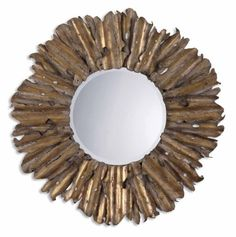 43 Antique Gold Leaf  Gray Starburst Metal Framed Beveled Round Wall Mirror -- More info could be found at the image url.