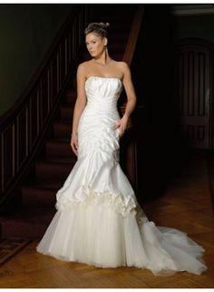 Mermaid Strapless Ruching Brush Train Taffeta Wedding Dresses WE3587