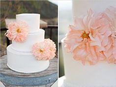 Simple white wedding cake.