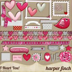 """Free Digital Scrapbook Element Pack: """"I Heart You"""" by Harper Finch at Deviant Art ✿ Join 6,800 others. Follow the Free Digital Scrapbook board for daily freebies. Visit GrannyEnchanted.Com for thousands of digital scrapbook freebies. ✿ """"Free Digital Scrapbook Board"""" URL: https://www.pinterest.com/grannyenchanted/free-digital-scrapbook/"""