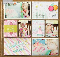 Winnie & Walter | Project Life, Scrapbook Layout, 12 x 12, Pocket Pages, Pocket Cards, Heat Embossing, Watercolors, Die Cuts, Gray, Pink, Orange, Aqua, Lime