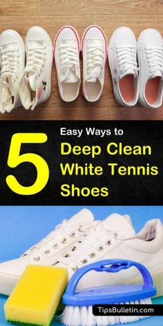 Discover excellent tips and tricks for deep cleaning those white tennis shoes using household items. DIY cleaning solutions using hydrogen peroxide, vinegar, toothpaste, bleach, pencil eraser… Clean White Leather Shoes, How To Clean White Sneakers, White Leather Tennis Shoes, Nike Leather, White Nike Shoes, Cleaning White Canvas Shoes, Cleaning Leather Shoes, Cleaning Sneakers, Shoe Cleaner Diy
