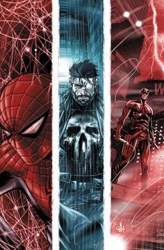 "Spider-Man, the Punisher and Daredevil in Marvel's ""The Omega Effect"" (great mini crossover event from April 2012)"