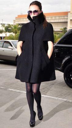 Victoria Beckham's high-collared cape coat