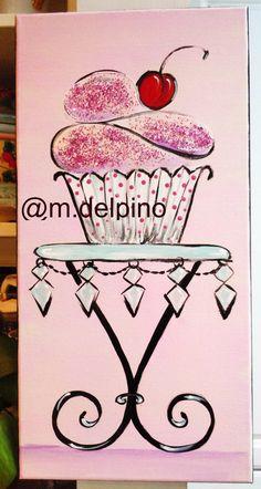 Pink GLITTER cupcake Nursery tween girl bedroom by AdoraArt. , via Etsy.